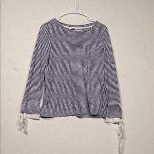 Skies Are Blue | Striped Bow Sleeve Top Size M